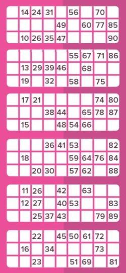 90-ball Bingo Card