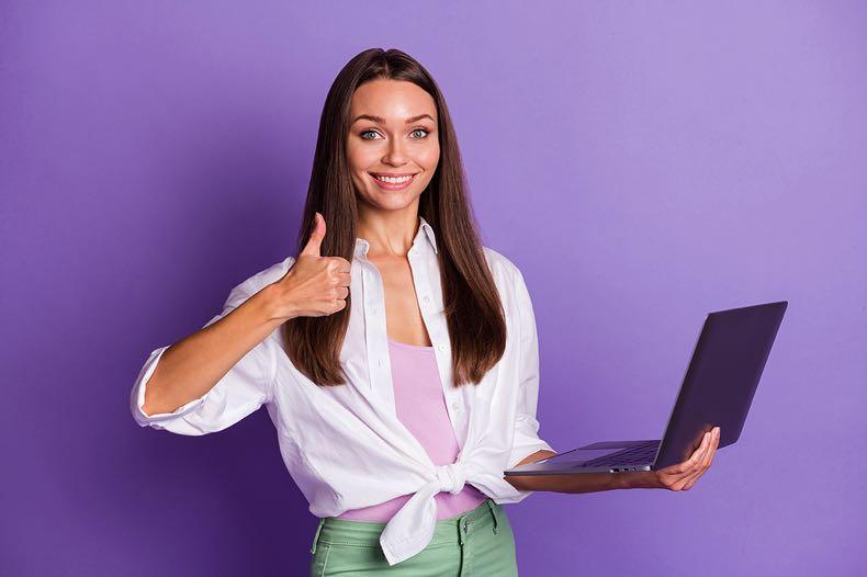 Thumbs up laptop