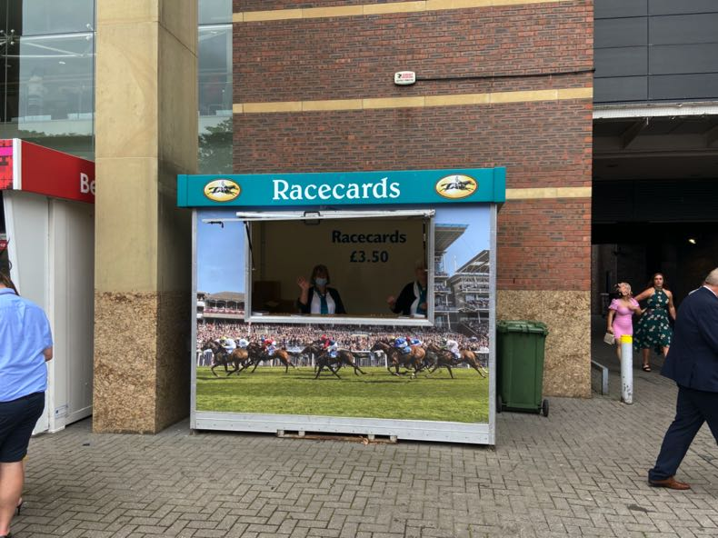 Race cards stand at York Racecourse